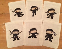 6 Ninja Boys Or Ninja Girls Gift Party Favor Bags. Set of 6 - 6x8 Drawstring Birthday Gift Basket Bags Personalized