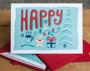 Happy Holidays Greeting Card A6 Blue Christmas Greeting Card