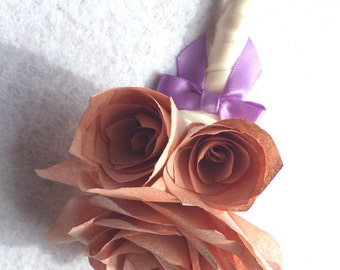 Rose gold Boutonnieres, Groom boutonniere, Prom corsage, Prom boutonniere, Mother's Corsages, Fake Flower Corsages, Lavender paper corsages