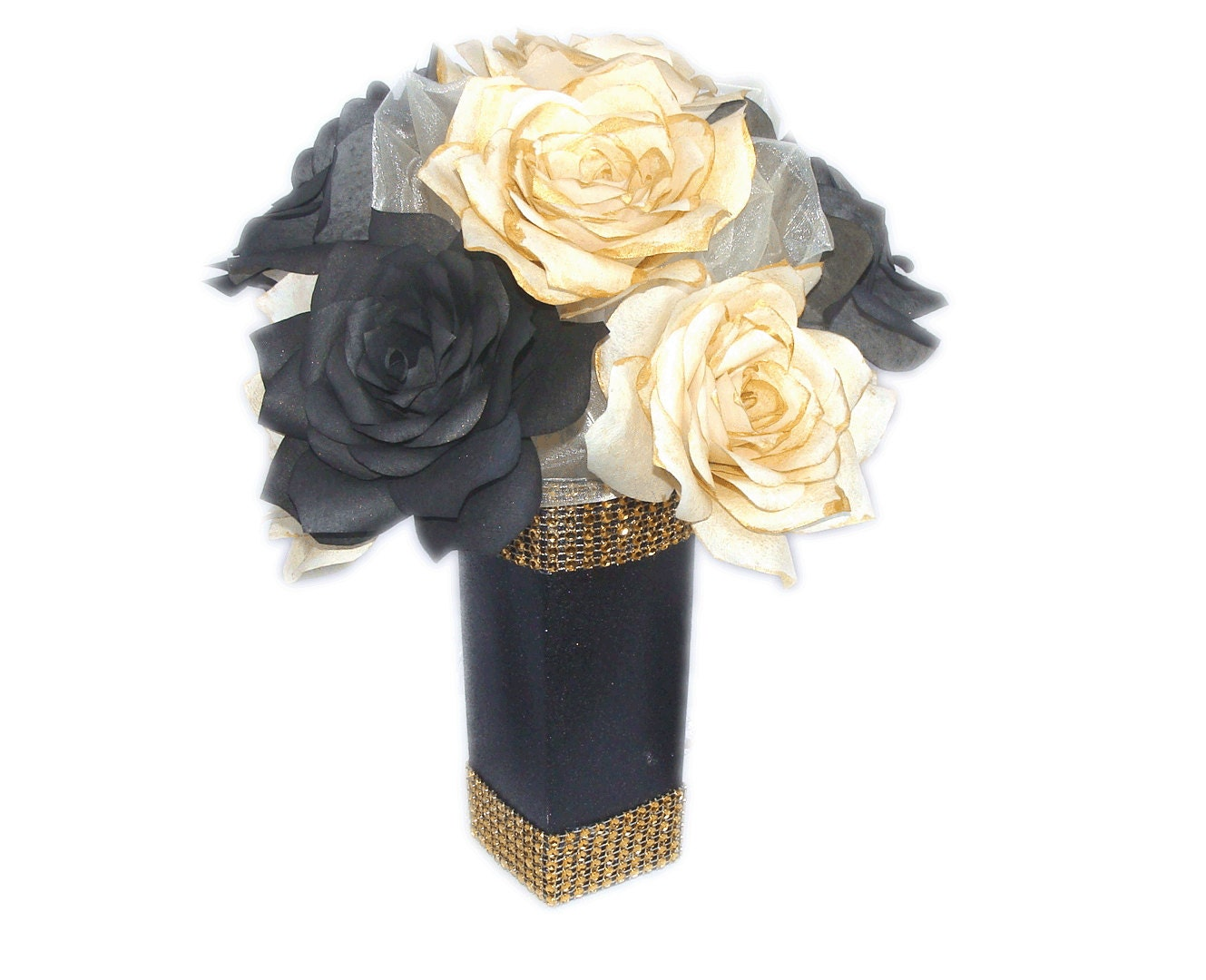 Gold And Black Wedding Ideas: Gold And Black Floral Centerpiece Paper Flower Table Decor