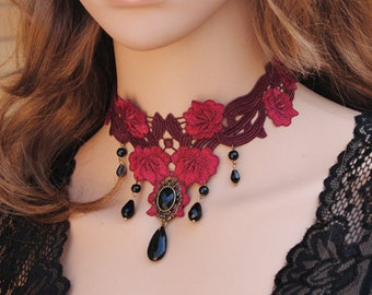 Romantic Red Rose Lace Choker Necklace, Gothic Choker