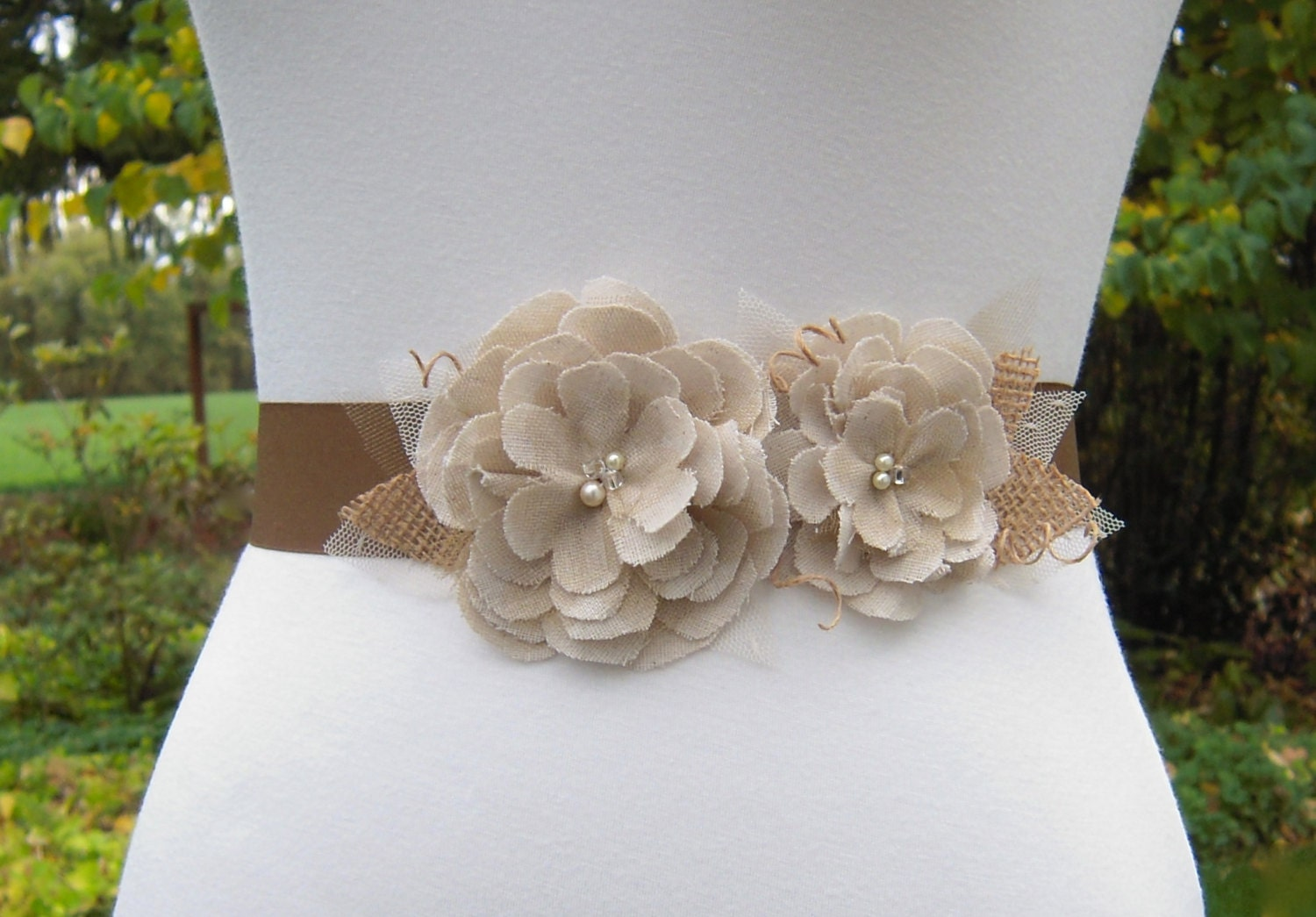 Tan Beige and Brown Rustic Wedding Dress Sash Muslin Flower