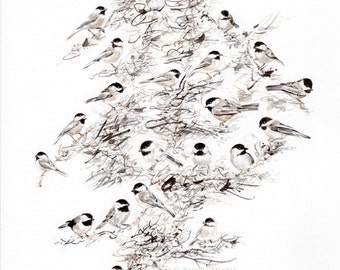 Chickadee Tree, Print of Watercolor Painting