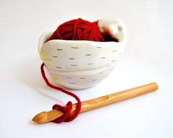 Ceramic Baby Sloth Yarn Bowl, Knitting Bowl, Wool Bowl  in White Clay and Decorated with Pigments in Pink and Black Colors. Ready To Ship