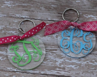 "Custom Monogrammed Acrylic  Keychain 3""  Personalized Key Chain Fob Teen Tween Birthday Christmas Gift Present"