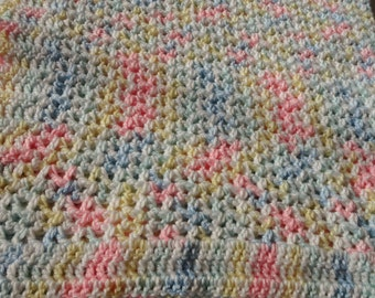 Multicolor Paset Crocheted Baby Afghan
