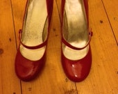 Crimson Red Mary Jane High Heel Shoes UK Size 5