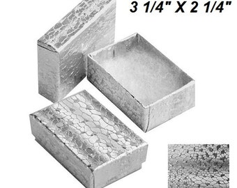 100 Silver size 3.25x2.25 Jewelry Presentation Cotton Filled Boxes Display Boxes Gift Boxes