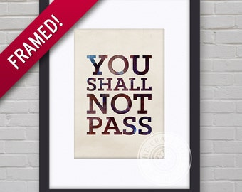 0076F Lord of the Rings Typography Wall Art Framed Print