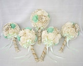 "Bridal Bouquet or Bridesmaid bouquet ''Green"" ,Wedding bouquets Sola flowers,Wedding Cream White Fabric Bouquet,"