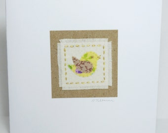 Hand Embroidered Birthday or Thank You fabric card with Little Yellow Bird design in up-cycled fabric- recycled SALE!
