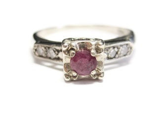 Vintage Ruby Engagement Ring 14K White Gold Size 6 Antique Wedding Jewelry