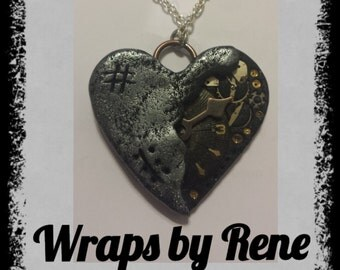 Steampunk Heart Pendant/Necklace/Heart Jewelry/Watch Necklace/Clock Necklace/Valentines Day
