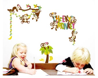 Cheeky Monkey Nursery Kids Wall Decals / Wall Stickers - FREE DELIVERY (Australia Only) AW7277