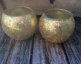Wedding, Vase, Votive - Gold Glitter