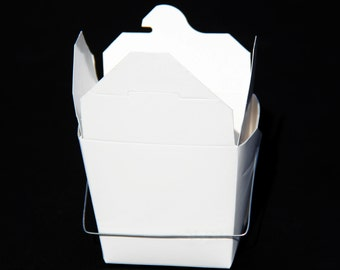 1 Pint White Take Out Boxes with Wire Handles - 10 Quantity