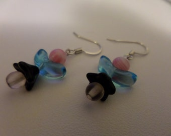 Pink and Blue Angel Earrings