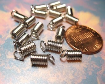 20pcs Silver Tone Coil End Crimp Fasteners 4x8mm