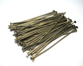 "100pcs Antique Bronze Head Pins 45mm(1 6/8"") 0.7mm(21 Gauge)( No.559)"