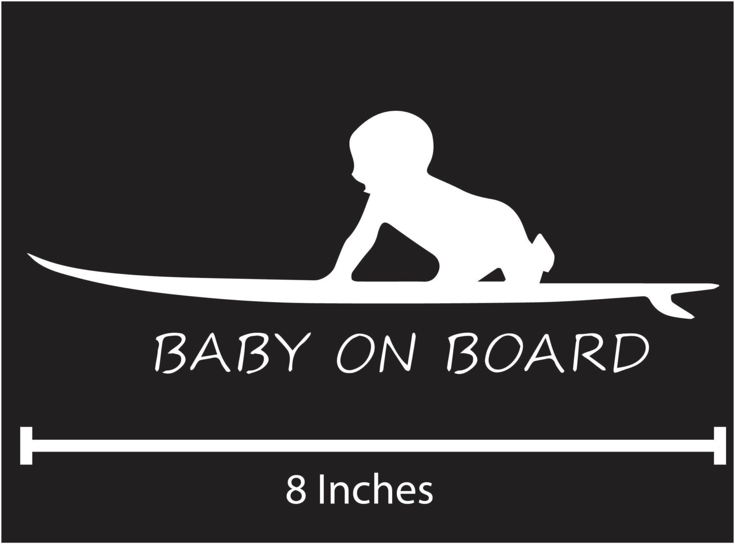 Surfboard Baby On Board Vehicle Decal Surfing Baby Safety