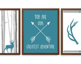 Boys Nursery Art - Animal Nursery Art - Green And Blue Nursery - Chevron Nursery - Stag Wall Art - Set Of Three Prints