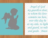 Guardian Angel Prayer Nursery Wall Art Grey Aqua Gender Neutral Room Decor Angel Praying Child's Prayer Wall Art 8x10 Prints (57a)