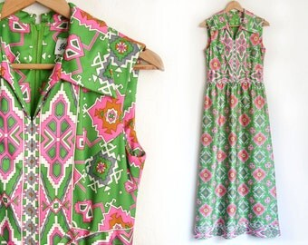 "60's Yves Jennet mod maxi dress. Long, boho, aztec, geometric print kelly green and pink dress. 28"" waist"