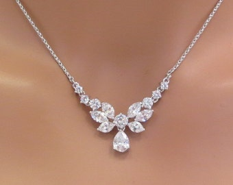Simple bridal necklace, Bridal Rhinestone necklace, Crystal necklace, Bridal jewelry, Cubic zirconia necklace, Bridesmaid necklace