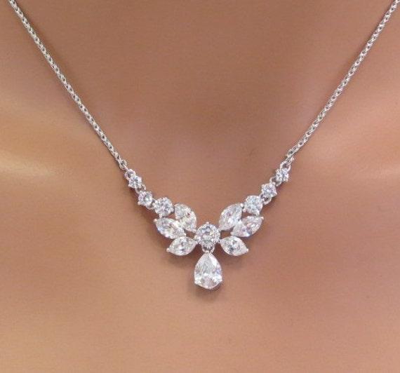 Simple Bridal Necklace Bridal Rhinestone Necklace Crystal