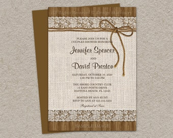 Rustic Couples Shower Invitation With Burlap And Lace, DIY Printable Rustic Wedding Shower Invitations, Burlap Bridal Shower Invites