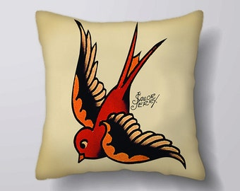 Swollow Bird Sailor Jerry Tattoo - Cushion Fabric Panel Or Case or with Filling