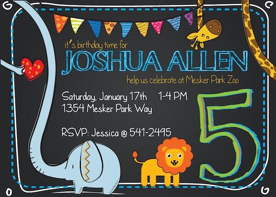 Zoo Animals Birthday Party Invitation