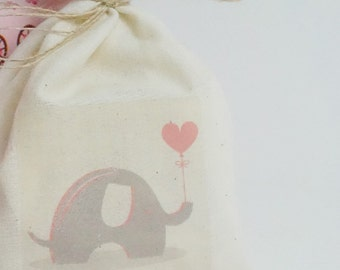 Baby Shower Favor Bags, Muslin Bag, Elephant with Heart Balloon, Fabric Bag, 5 x 8, Blue or Pink
