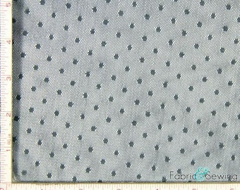 "Dark Grey Point D'Esprit Mesh with Dot Fabric 2 Way Stretch Nylon  52-53"""