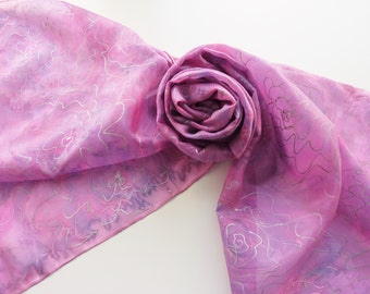 """Hand painted silk scarf. Handpainted silk scarf. Pink silk scarf with silver flowers. Pink and purple scarf. 17 x 71"""", 45 x 180 cm."""