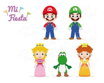 Mario brothers Inspired set Mario, Luigi, Yoshi, Princess Daisy and Princess Peach. Kids birthdays Instant Digital Download