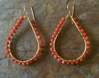 Coral beaded gold hoop earrings