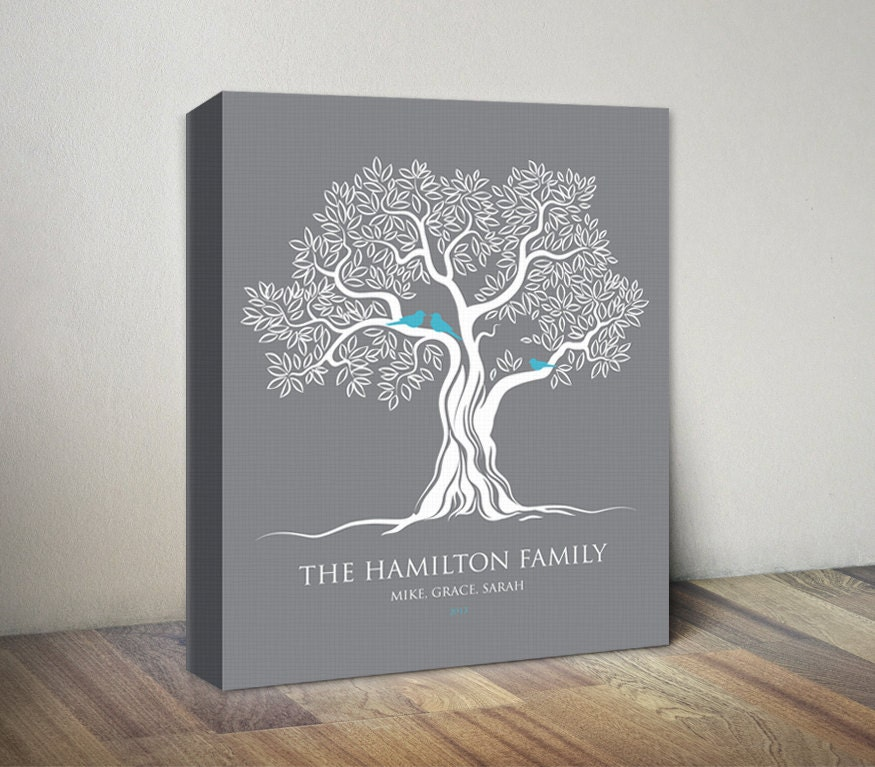 Gray Family Tree Canvas Print Birds On Tree Personalized