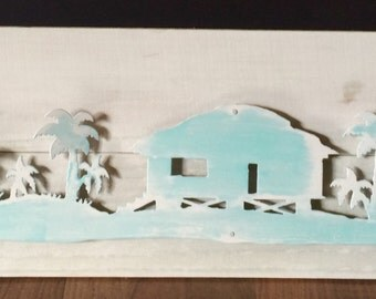 Tropical Island Scene, beach house decor, wall art, tropical island art,  Made with distressed wood, whitewashed, and painted steel