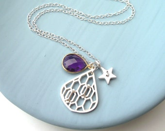 Personalised Purple Honeycomb Drop And Star Necklace