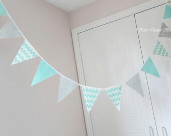 Aqua blue and grey chevron nursery bunting, baby shower decoration, aqua marine