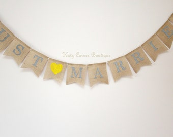 Just married burlap bunting banner grey and yellow wedding decoration