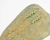 Tassel earrings in gold and green; Gemstone shoulder-dusters; 14kt gold wire wrapped dangles; Mint green chrysoprase jewelry; Extra long