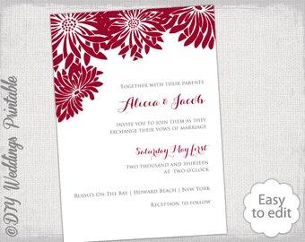 "Wedding invitation template Apple red wedding invitations ""Flower Burst"" Gerber Daisy printable invites DIY dark red YOU EDIT Word download"