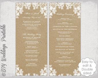 "Rustic Wedding program template ""Rustic Lace"" DIY ecru kraft order of ceremony printable YOU EDIT instant download"