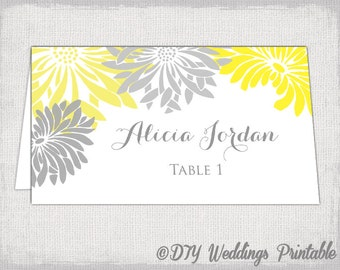 """Place card template Yellow and Gray Gerber Daisy DIY wedding name cards """"Flower Burst"""" Yellow and gray place card templates download"""