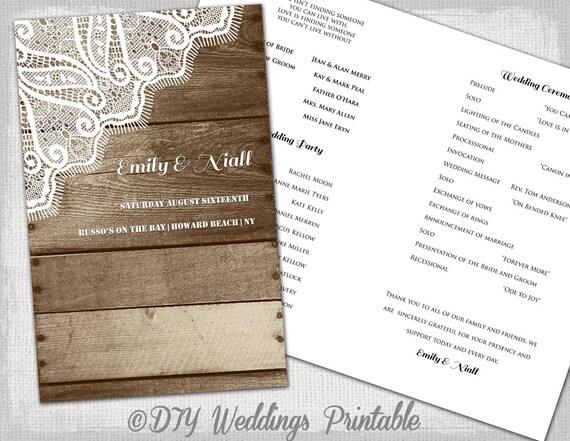 Rustic Wedding Program Printable Template Wood Lace DIY YOU EDIT Digital Country Download