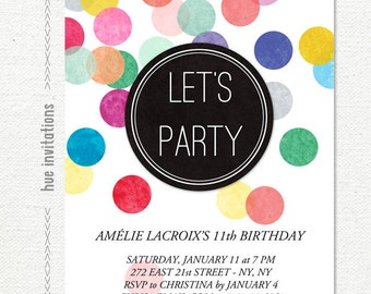 tween birthday party invitation, confetti 11th birthday invitation for girls, rainbow let's party invite, modern 5x7 digital invitation 627