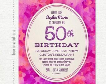 50th birthday party invitation, purple glitter geometric watercolor birthday party invitation, modern glam invite, printable digital 5x7 757