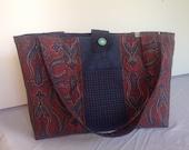 Women's bohemian handbag, large tote bag, shoulder bag, fabric handbag,centre contrast panel ,2 exterior pockets 1 interior, magnetic close.